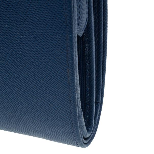 Prada Navy Saffiano Compact Wallet