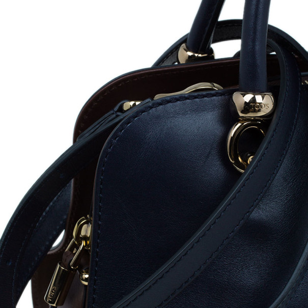 Tod's Navy Leather Small Sella Bowler Bag