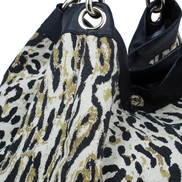 Jimmy Choo Black Trim Leopard Print Large Tote