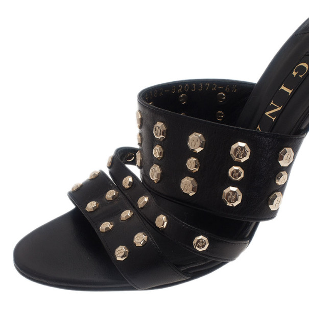Gina Black Leather Studded Slides Size 40