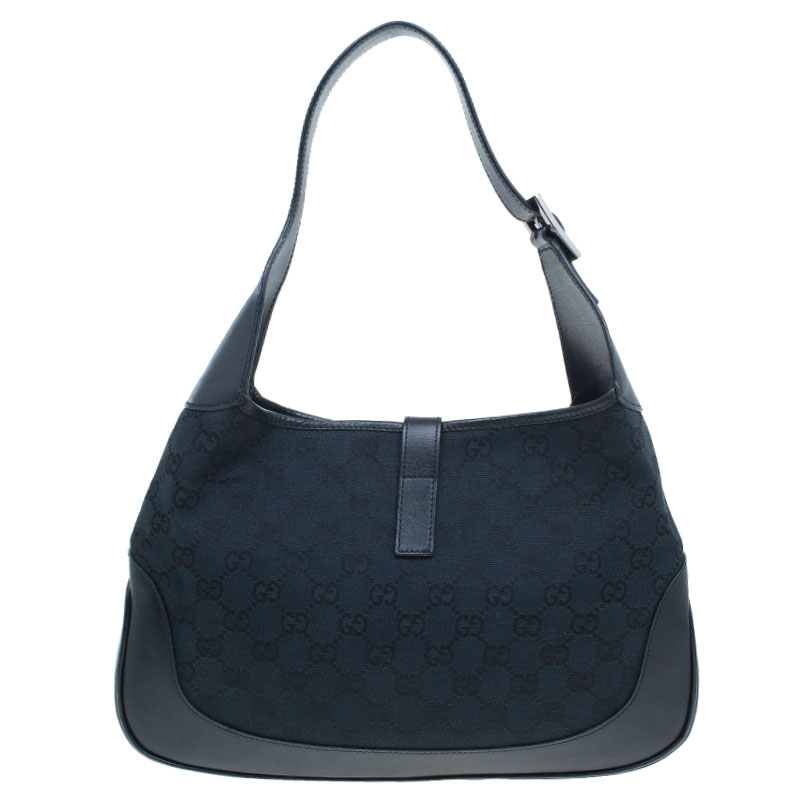 Gucci Black Canvas GG Jackie Hobo