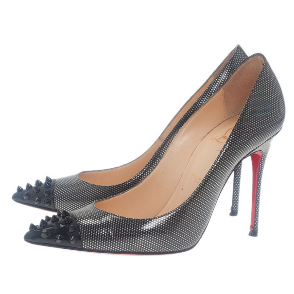 Christian Louboutin Metallic Leather Spiked Geo Pumps Size 37