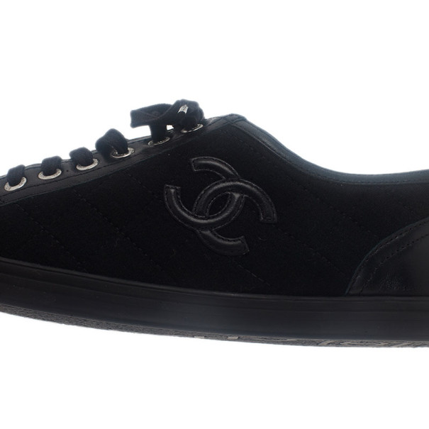 Chanel Black Quilted Leather and Canvas Sneakers Size 39.5