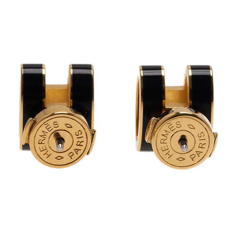 Hermes Pop H Black Lacquered Gold Tone Stud Earrings