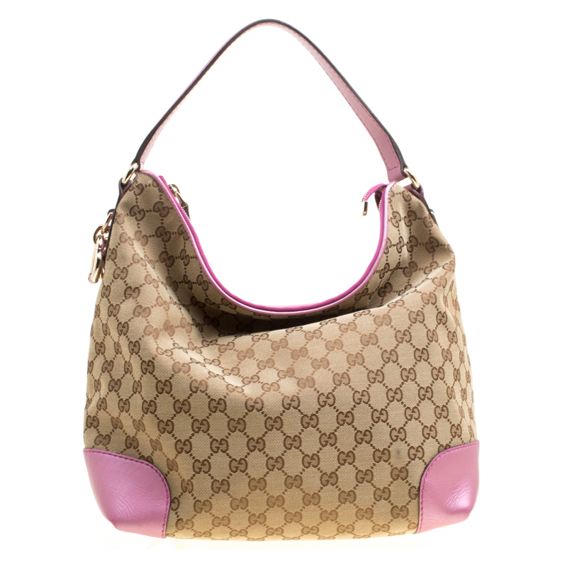 Купить со скидкой Gucci Beige/Pink GG Canvas and Leather Medium Heart Bit Hobo