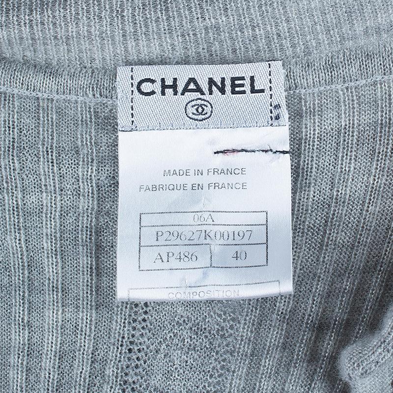Chanel Gray Ruffled Cardigan M