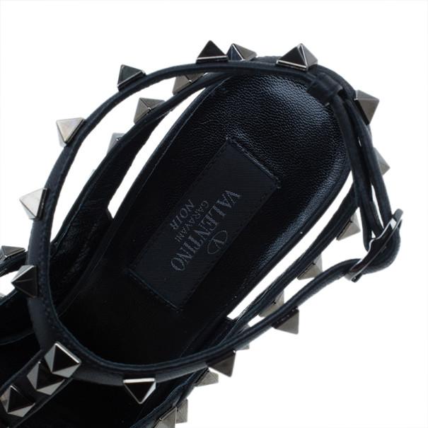 Valentino Black Leather Rockstud Sandals Size 37.5