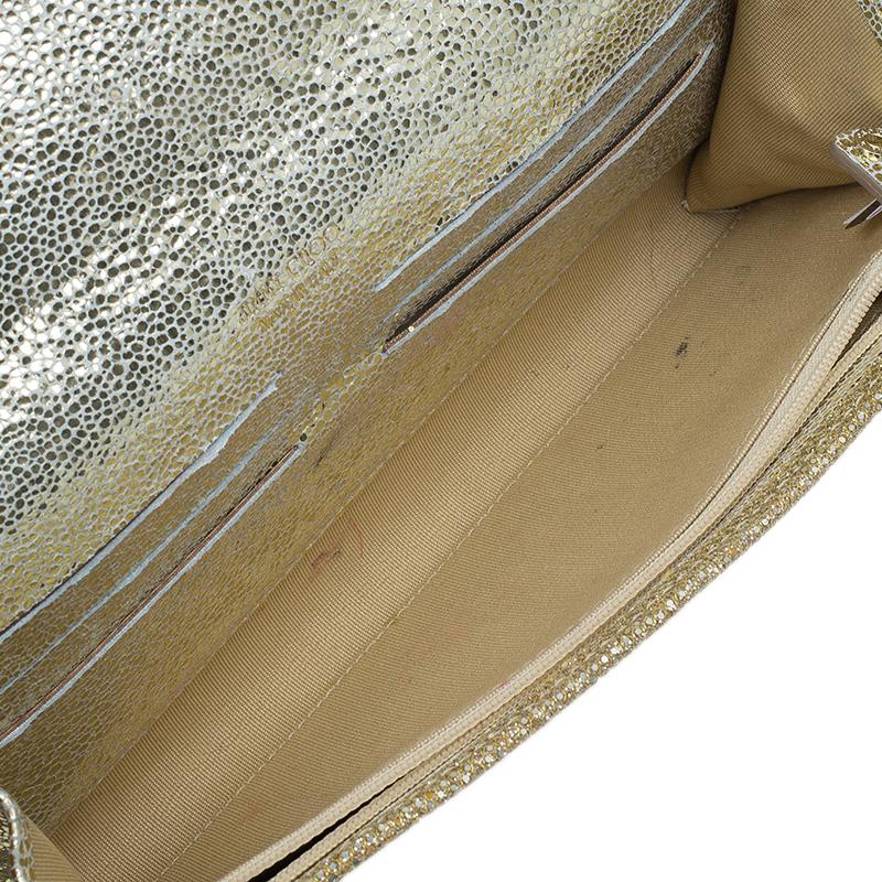 Jimmy Choo Gold Lamé Glitter Riane Convertible Clutch