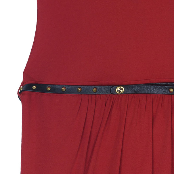 Gucci Drop-waist Belted Dress S