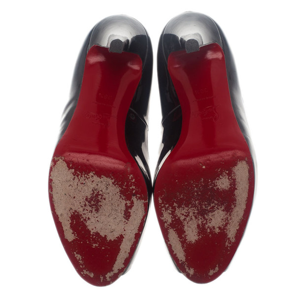 Christian Louboutin Black Patent Very Prive Peep Toe Pumps Size 38.5