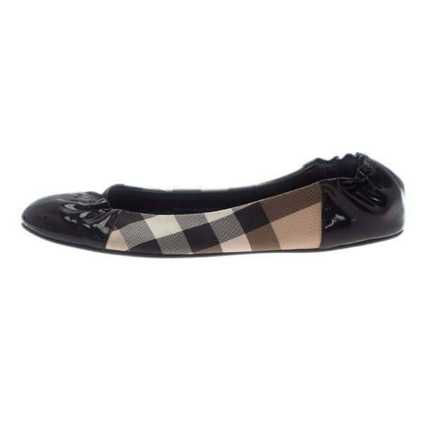 Burberry Black Patent Cap Toe House Check Ballet Flats Size 39
