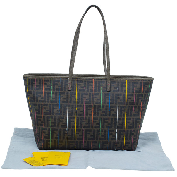 Fendi Zucca Tobacco Multicolor Canvas Large Spalmati Striped Tote