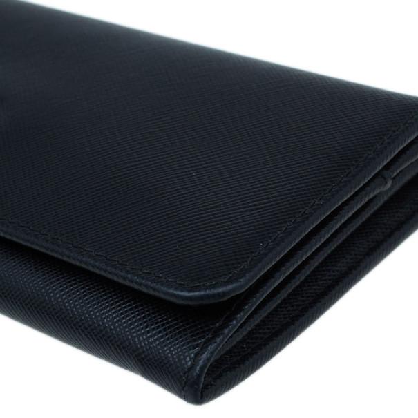 Prada Black Leather Long Saffiano Flap Wallet
