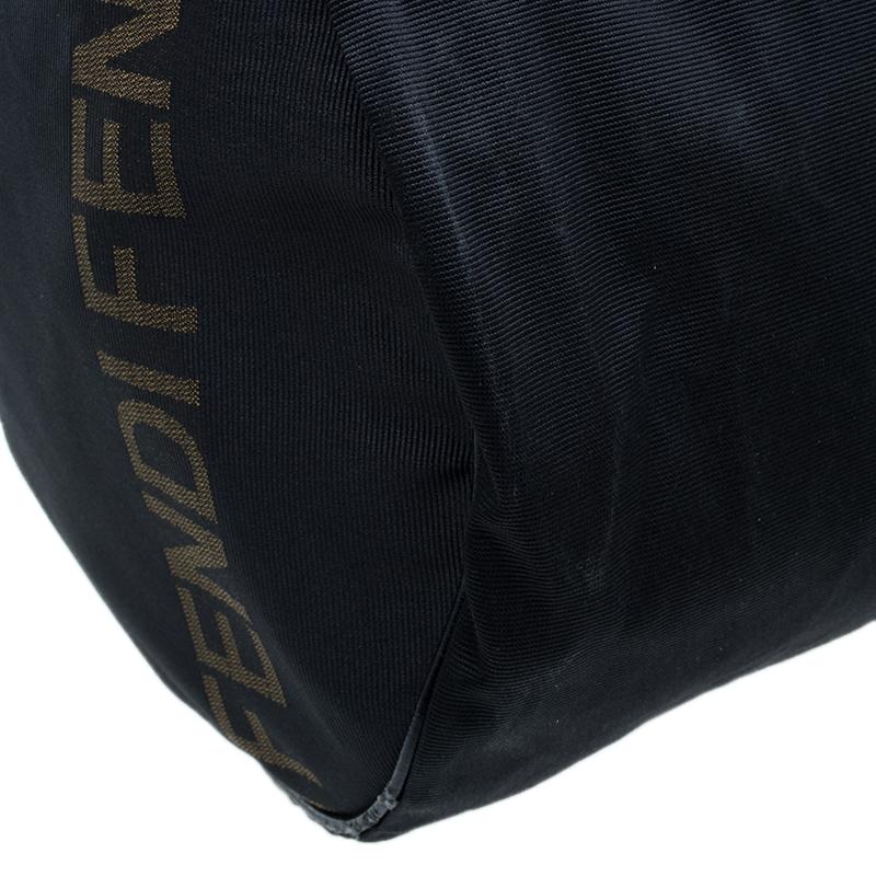 Fendi Black Nylon Carry-On Travel Boston Bag