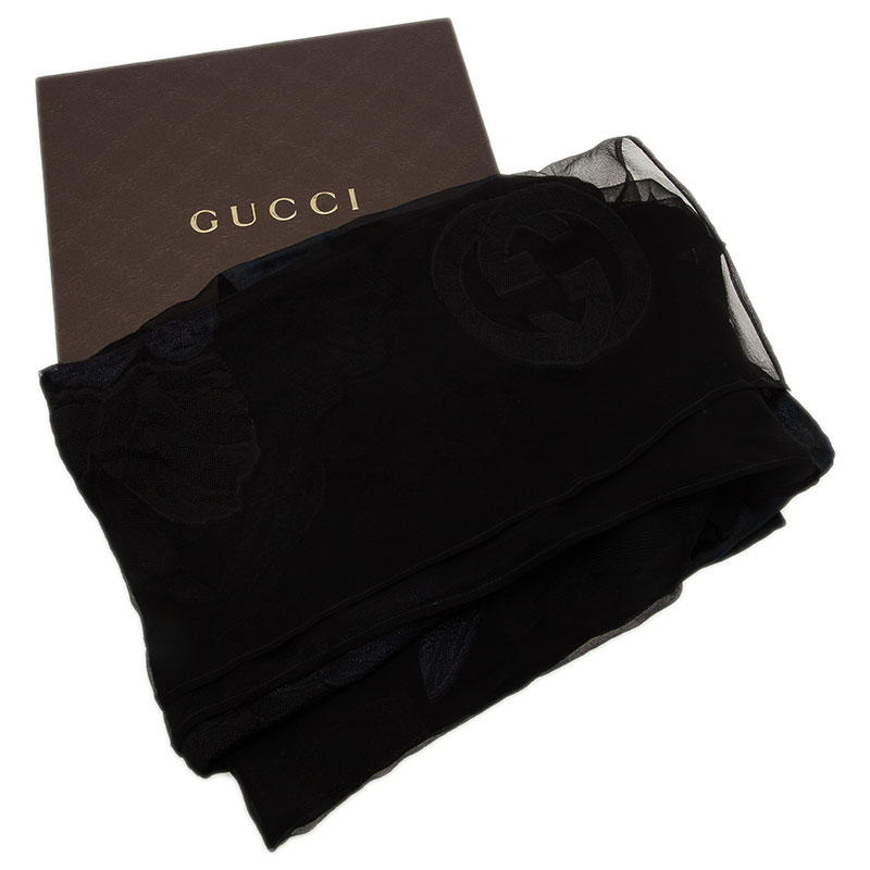 Gucci Two Tone Silk Blend Embroidered Scarf