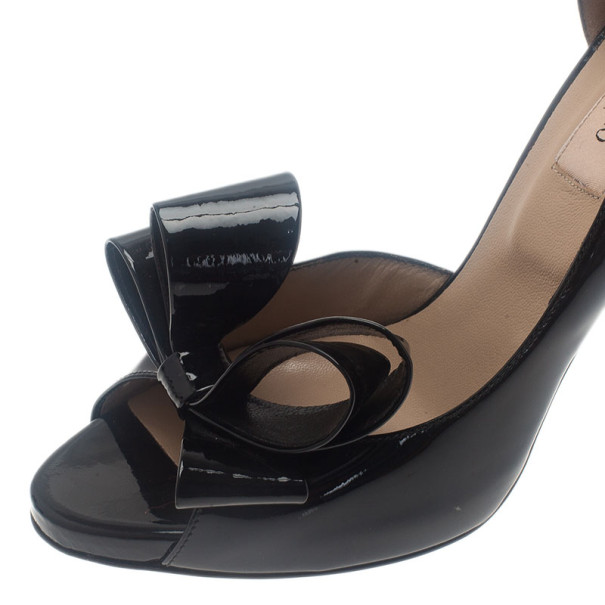 Valentino Black Patent Bow D'orsay Pumps size 37