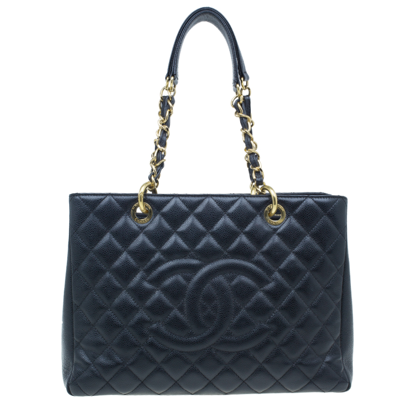 Chanel Black Caviar Leather Grand Shopper Tote GST