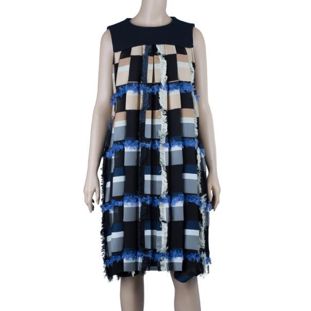 Chloe Pleated Color-block Dress M