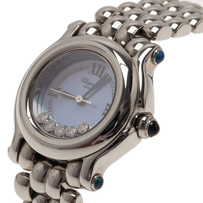 Chopard Blue Mother of Pearl Stainless Steel Happy Sport Women's Wristwatch 26MM