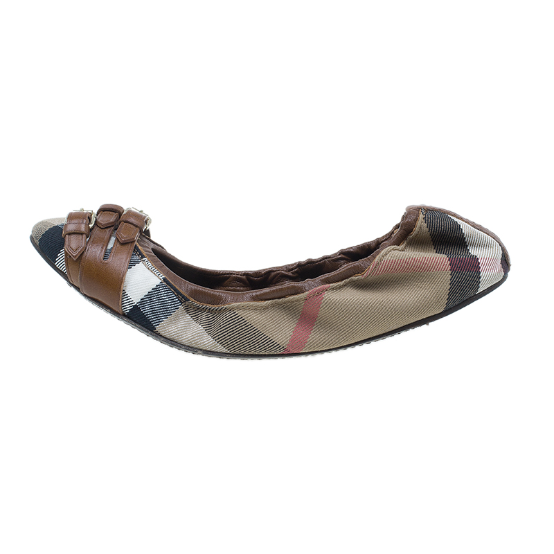 Burberry Novacheck Canvas and Leather Buckle Ballet Flats Size 39