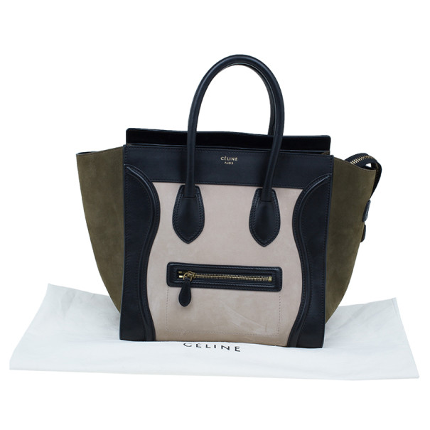 Celine Tricolor Smooth Leather Mini Luggage Tote