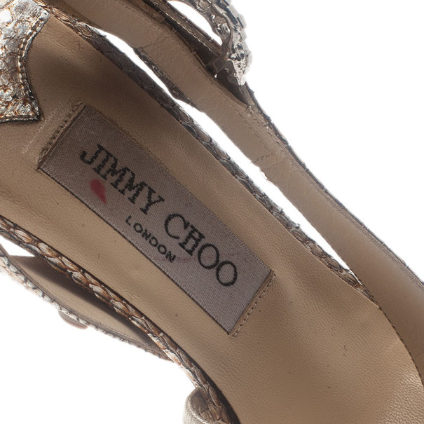 Jimmy Choo Gold Metallic Jeweled Buckle Sandals Size 36.5