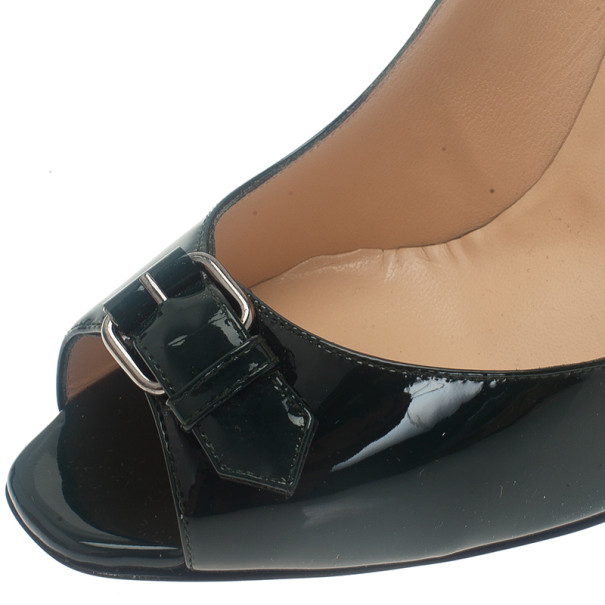 Christian Louboutin Green Patent Open Belt Peep Toe Pumps Size 40