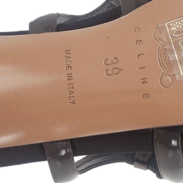 Celine Grey Patent Slides Size 39