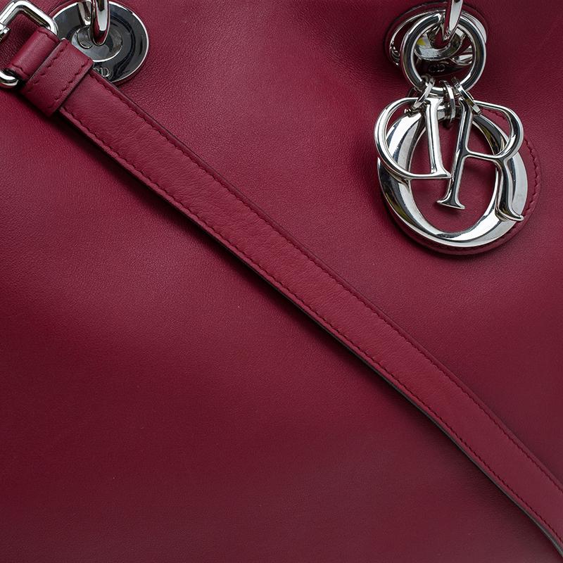 Dior Red Leather Large Diorissimo Shopper Tote