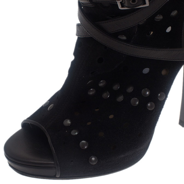 Jimmy Choo Black Suede Studded Ankle Booties Size 39