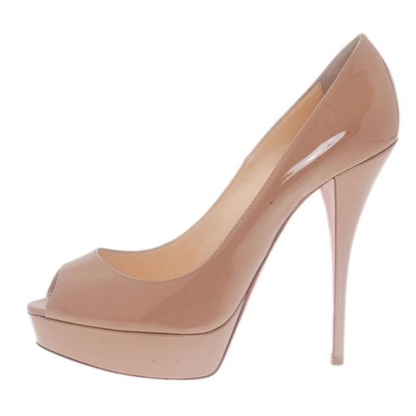 Christian Louboutin Nude Patent Troca Peep Toe Platform Pumps Size 41