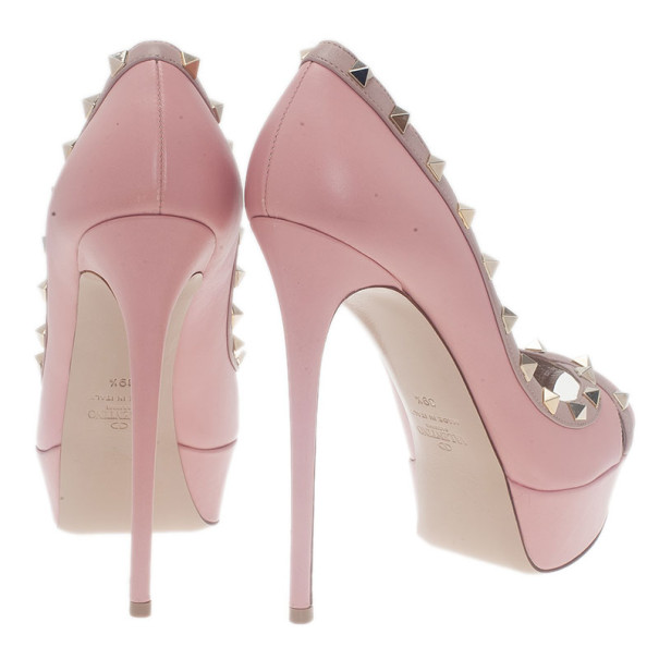 Valentino Pink Leather Rockstud Crisscross Platform Pumps Size 39.5