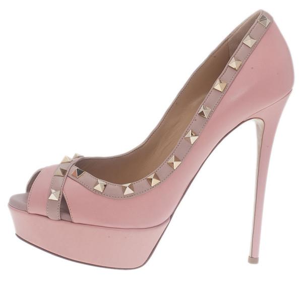 Valentino Pink Leather Rockstud Crisscross Platform Pumps Size 39.5