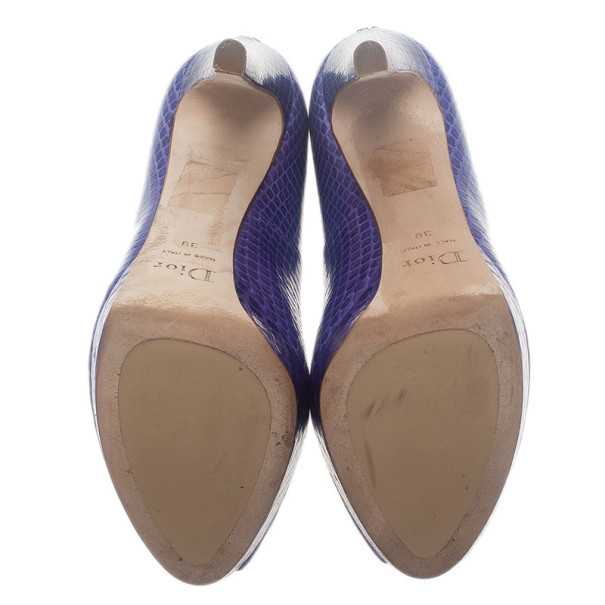 Dior Purple Watersnake Miss Dior Peep Toe Platform Pumps Size 39