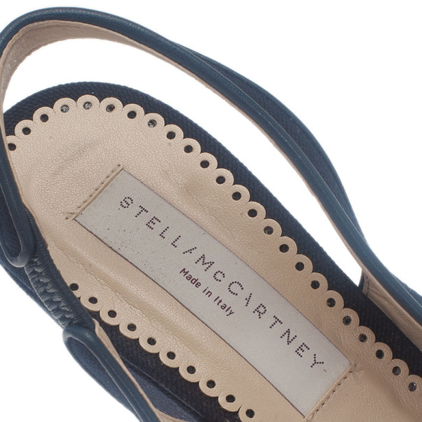 Stella McCartney Blue Canvas Slingback Wedges Size 39.5