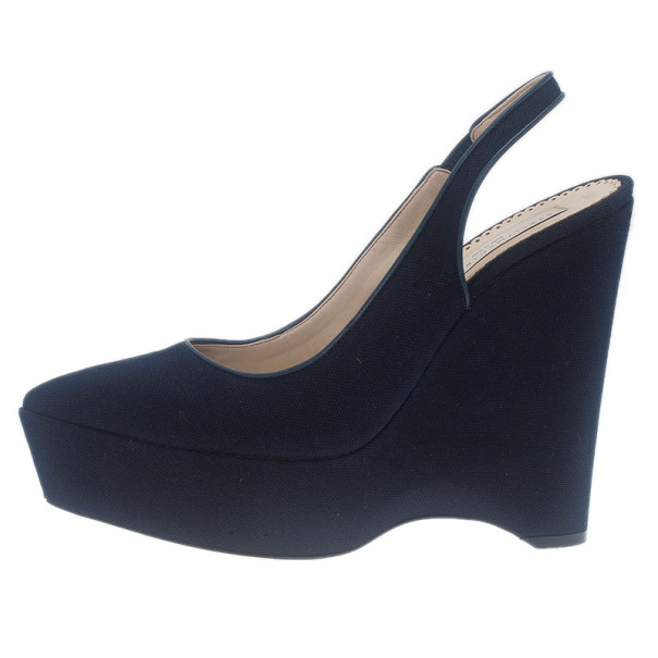 Stella McCartney Blue Canvas Slingback Wedges Size 39.5