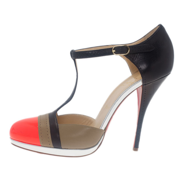 Christian Louboutin Tri Color T Strap Pumps Size 40