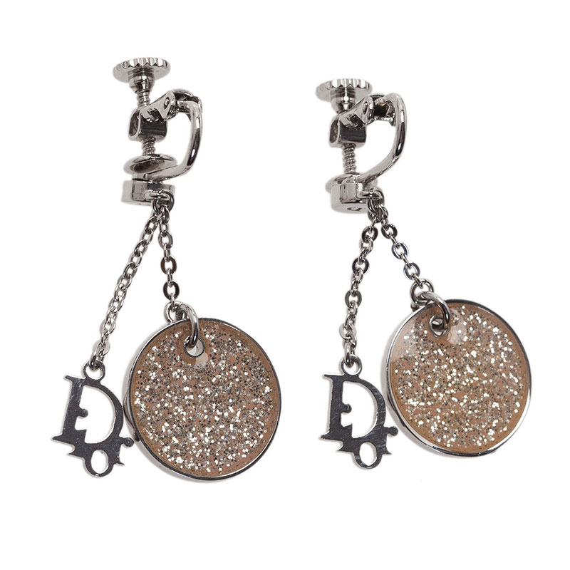 Dior Monogram White Glitter Silver Tone Dangle Earrings