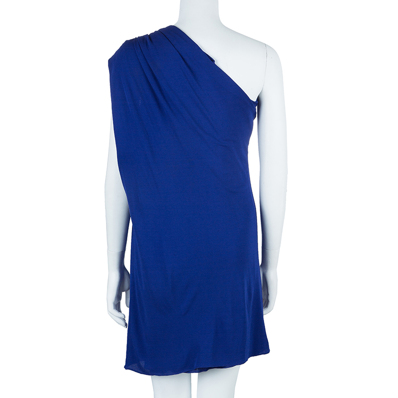 Jean Paul Gaultier Blue One Shoulder Dress M