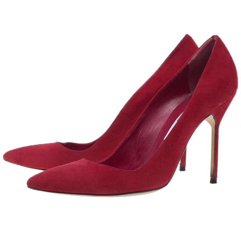 Manolo Blahnik Red Suede BB Pointed Toe Pumps Size 39