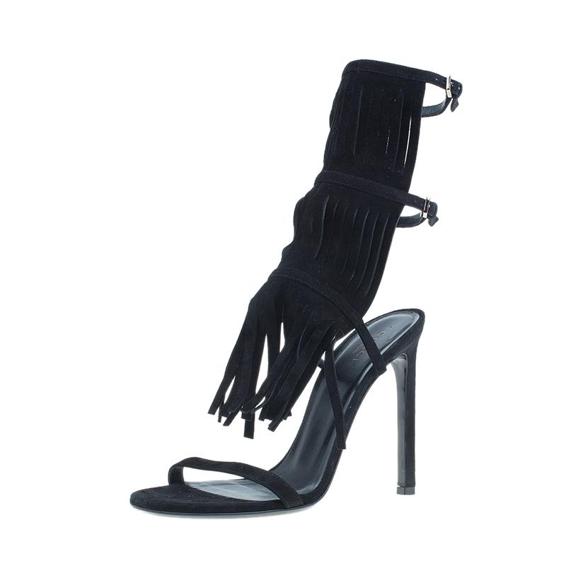 Gucci Black Suede Becky Fringe Sandals Size 37