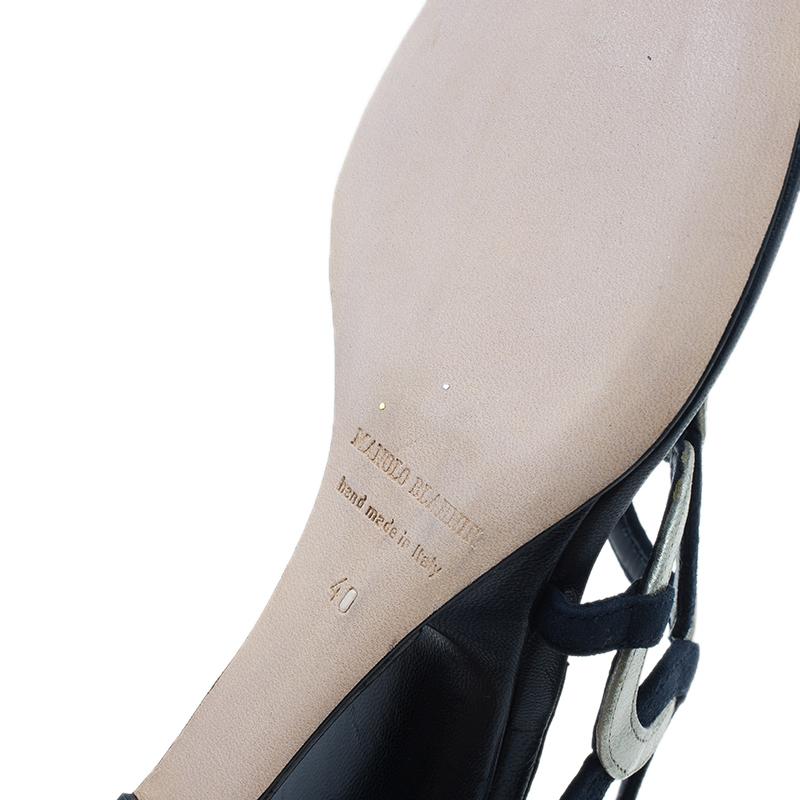 Manolo Blahnik Blue Leather Wedge Slides Size 40