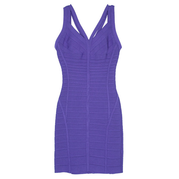 Herve Leger Purple Cutout Bandage Dress M
