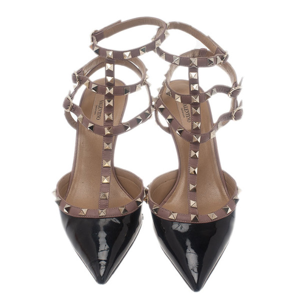 Valentino Black Patent Leather Rockstud Sandals Size 42