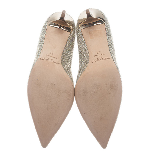 Jimmy Choo Metallic Jeweled Pointed Toe Pumps Size 42
