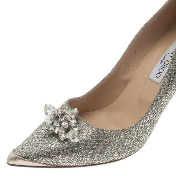 Jimmy Choo Metallic Jeweled Pointed Toe Pumps Size 42