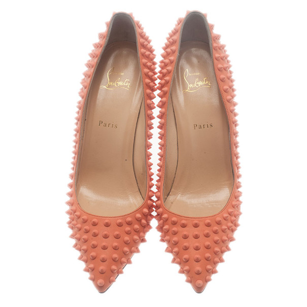 Christian Louboutin Peach Pigalle Spikes Pumps Size 42