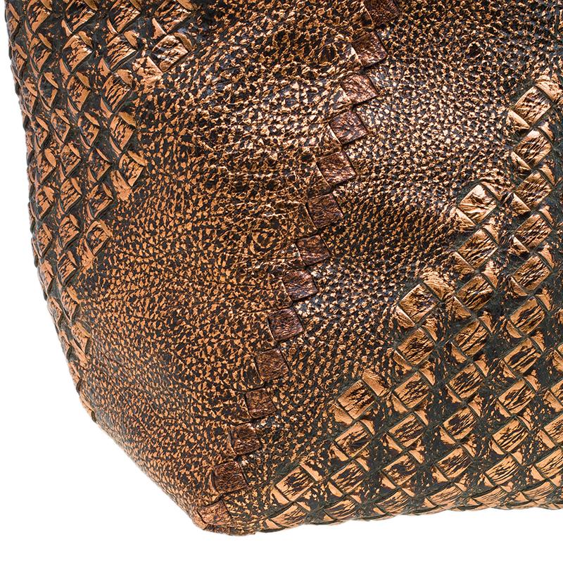 Bottega Veneta Bronze Deerskin Leather Cervo Tote Bag