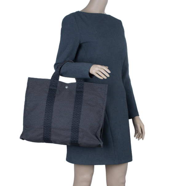 Hermes Grey Canvas Herline Tote MM