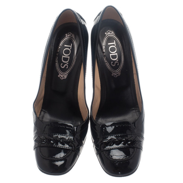 Tod's Black Patent Loafer Pumps Size 37.5